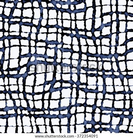 Abstract irregular rough edges grid. Seamless pattern. - stock photo