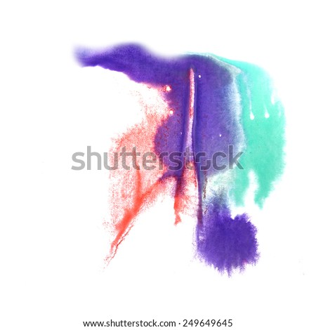 abstract isolated Red, green, lilac watercolor stain raster illustration