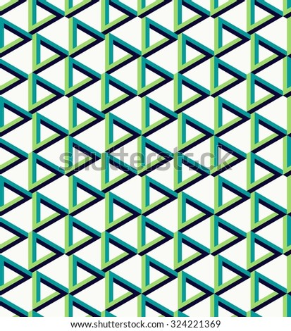Abstract isometric 3d impossible triangle sign seamless pattern background. Ideal for fabric design, wrapping paper print and website backdrop. - stock photo