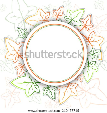 Abstract Ivy Round Frame With Copyspace - stock photo