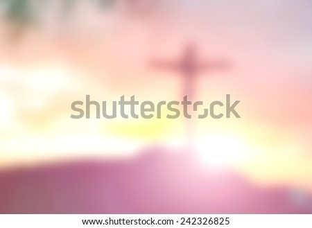 Abstract Jesus on the cross over sunset. Christmas background, Worship, Forgiveness, Mercy, Humble, Repentance, Reconcile, Adoration, Glorify concept. - stock photo