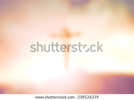 Abstract Jesus on the cross over sunset. Worship, Forgiveness, Mercy, Humble, Repentance, Reconcile, Adoration, Glorify, Thanksgiving, Christmas, Redemption, Redeemer, Eucharist concept. - stock photo