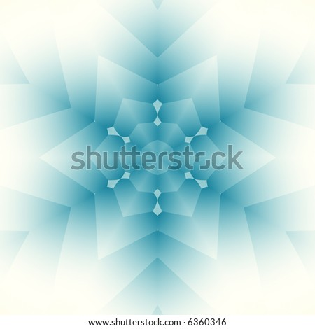 Abstract kaleidoscopic snowflake in soft teal and white. - stock photo