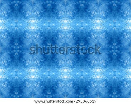 Abstract kaleidoscopic texture or background pattern design made from blue sky with cloud - stock photo