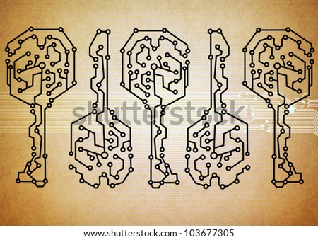 Abstract key circuit background - stock photo