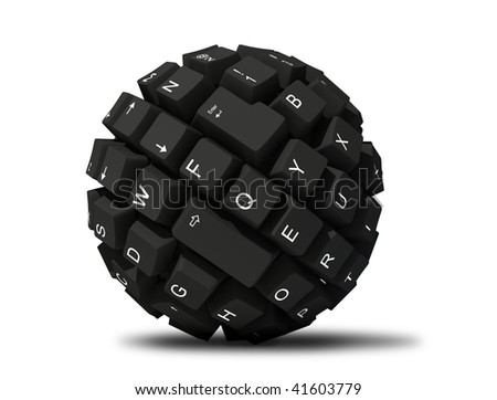 abstract keyboard ball - stock photo