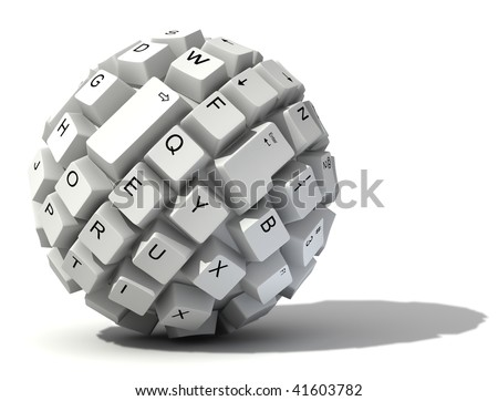 abstract keyboard ball - stock photo