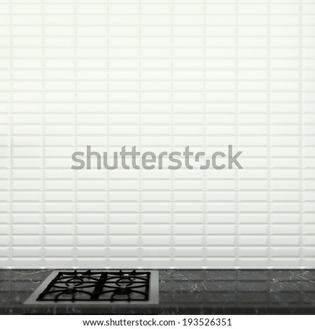 abstract kitchen interior with wall made of white ceramic tiles - stock photo