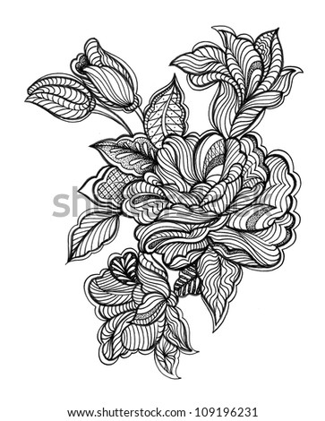 Abstract Lace Floral (Hand Drawn) - stock photo