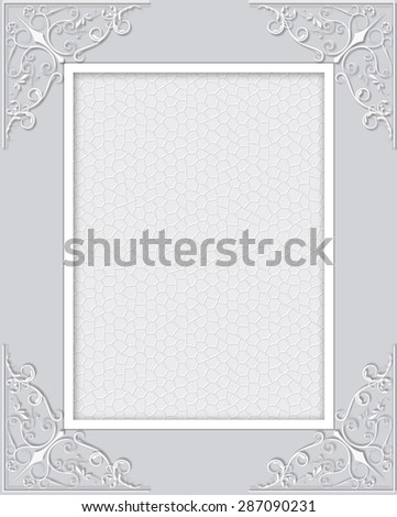 Abstract lace frame with swirls ornamental background.  - stock photo