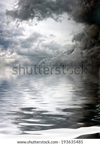 Abstract landscape of dark cloudy sky reflected in the water, gray tone