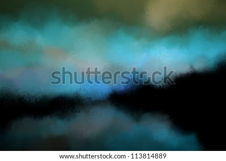 Abstract landscape painting - stock photo
