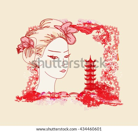 abstract landscape with Asian girl - stock photo