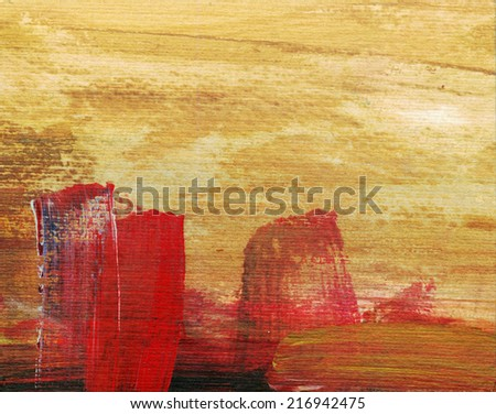 ABSTRACT LANDSCAPE WITH YELLOW SKY AND RED SPOTS - stock photo
