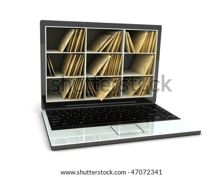 Abstract laptop post (done in 3d, isolated) - stock photo