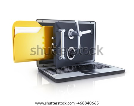 Abstract laptop safe and folder (done in 3d rendering)