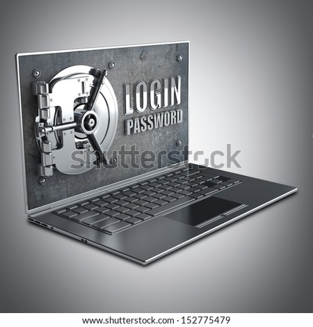 Abstract laptop safe (concept) High resolution 3d render  - stock photo