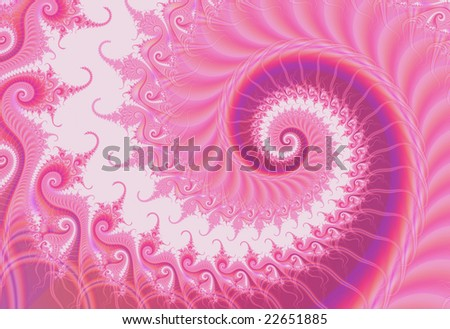 Abstract large fractal curl or spiral for Valentine's Day has many tendrils, color nuances, and fine detail.