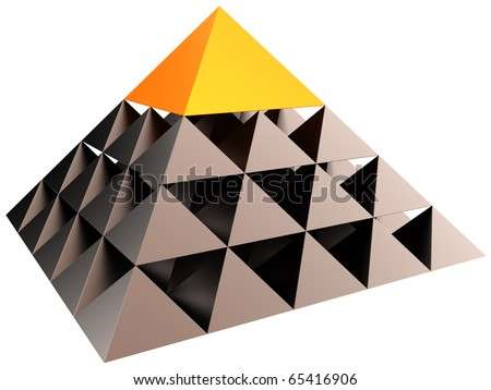 Abstract leadership hierarchy pyramid. Business career. Volume triangle structure with orange cap. Big brother eye concept. This is a detailed 3D render (Hi-Res). Isolated on white background - stock photo