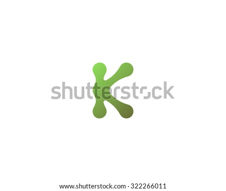Abstract letter K logo icon design. Universal colorful symbol logotype for: biotechnology molecule atom dna chip medicine, science, technology, laboratory, delivery electronics. - stock photo