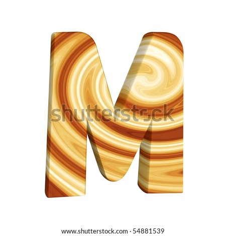 abstract letter M; coffeebrown-textured spiral