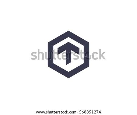 Abstract Letter T Logotype Line Hexagon Stockillustration 568851274 ...