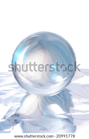 Abstract light and reflections around a crystal ball - stock photo