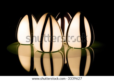 Abstract light and shape over glass reflection - stock photo