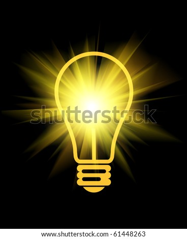 abstract light bulb with beams on black