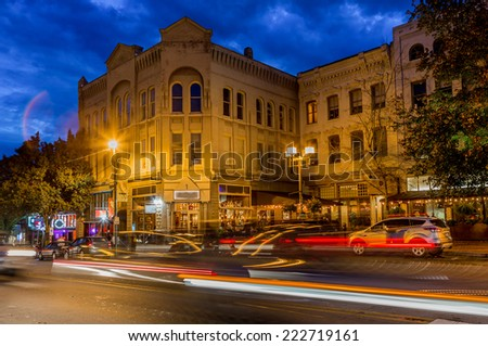 Abstract light flares highlight downtown Asheville - stock photo