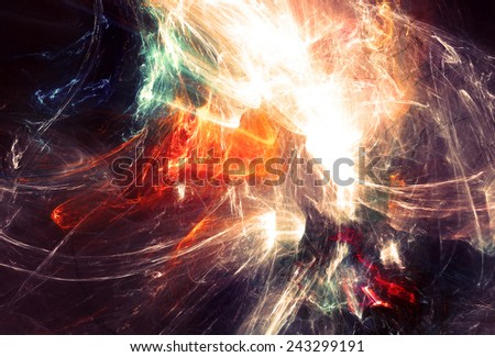 Abstract light neon trail. Glowing futuristic dynamic color background with lighting effect for creative design. Shiny decoration for wallpaper desktop, poster, cover booklet, flyer. Fractal art - stock photo