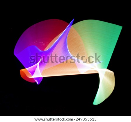 Abstract Light Painting, Great for use as a background. - stock photo