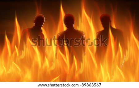abstract lighted silhouettes of three persons in hell - stock photo