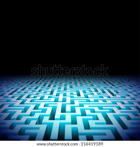 Abstract lightened perspective labyrinth in the darkness - stock photo