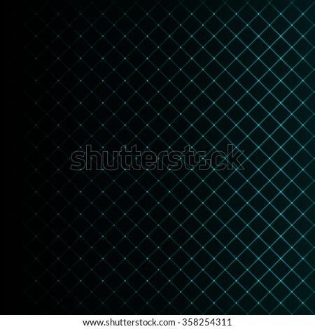 Abstract lights aqua strips on dark background - stock photo