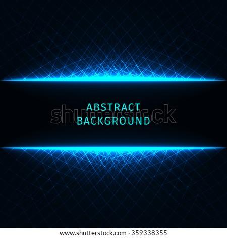 Abstract lights azure strips on dark background - stock photo