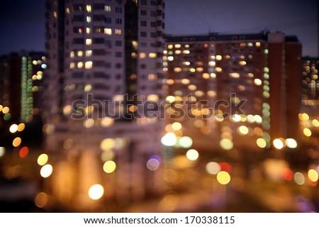 Abstract lights, flash circle, night city - stock photo