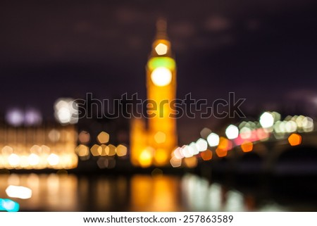 Abstract lights of Big Ben Clock Tower at Westminster Abbey, London, England, United Kingdom  - stock photo