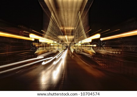 abstract lights of evening traffic - stock photo