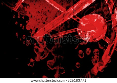 abstract line and sphere fantasy background gradient red colored