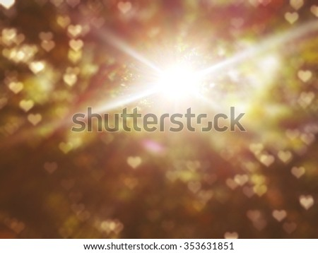 abstract little hearts flare blur background with bright sun light - stock photo