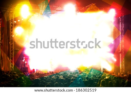 Abstract live music background.Stage and public - stock photo