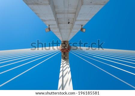 abstract looking to the Royal Bridge of Badajoz Spain - stock photo