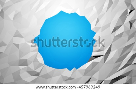 Abstract low poly background with a pixelated circle in the middle. 3d render illustration
