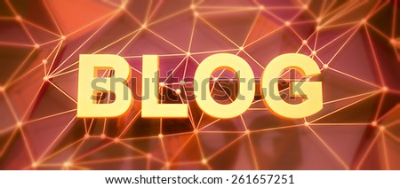 Abstract low-poly background. Word concept. Text blog. 3d render.