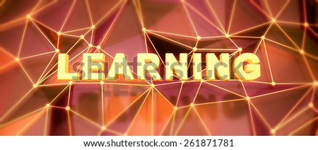 Abstract low-poly background. Word concept. Text learning. 3d render. - stock photo