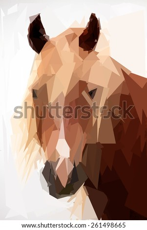 abstract low poly horse portrait on white background  - stock photo