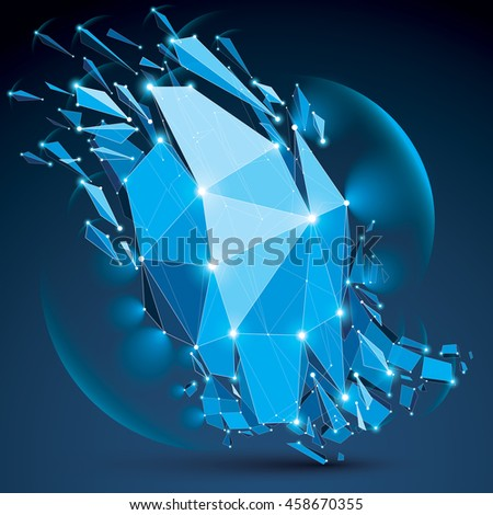 Abstract low poly wrecked object with white dotted lines connected. 3d origami broken blue futuristic form with lines mesh and fractures. Light effect and glow element.