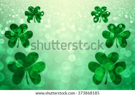 Abstract lucky green Irish St Patricks Day Shamrock glitter sparkle background or party invite - stock photo