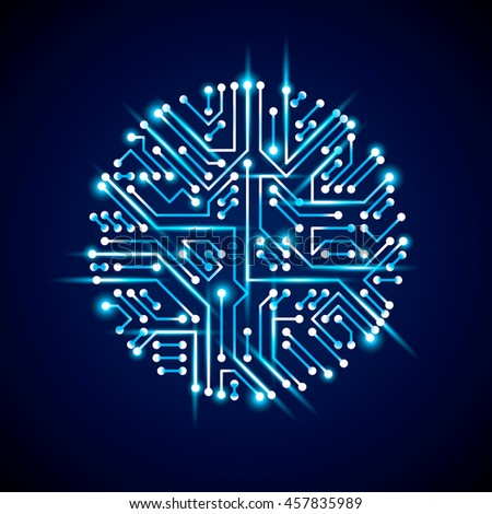 abstract luminescent technology illustration, round blue neon circuit board with sparkles. High tech circular digital scheme of electronic device.